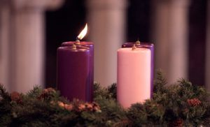 A lit candle in the Advent wreath Nov. 29 at St. John Vianney Church in Prince Frederick, Md., marks the first Sunday of Advent. The wreath, which holds four candles, is a main symbol of the Advent season, with a new candle lit each Sunday before Christmas. (CNS photo/Bob Roller) (Nov. 30, 2009)