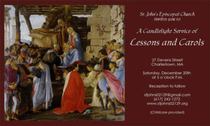 Join us for Lessons and Carols on Saturday, December 20 at 5 pm.