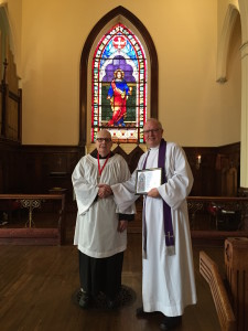 "Roger Chesebrough is honored as ""Crucifer Emeritus"" after 20 years of faithful ministry to St. John's"