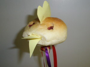A chick is ready for the Palm Sunday Procession