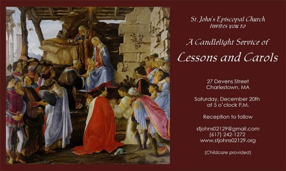 Lessons and Carols, Saturday, December 20, 5:00 PM